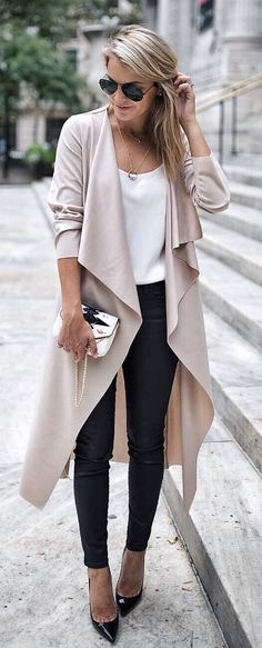 #fall #outfits women's white scoop neck top, gray cardigan, black jeans, black leather pointed pumps