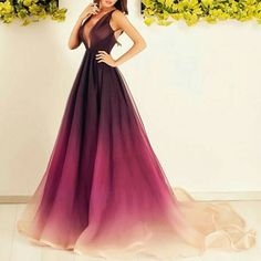 Ombre Chiffon Prom Dresses,Long Prom Dresses,V-neck Prom Dresses,A-line Prom Dress,Plus Size Prom Dresses,Pretty Prom Gowns,Evening Dresses,Elegant Party Dresses