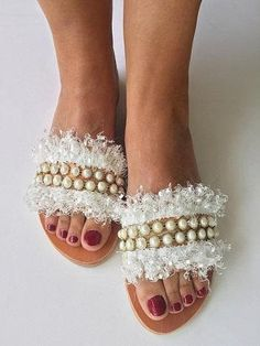 "Slip On Leather Sandals ""White Peony"", Boho Sandals, White Strappy Sandals, Wedding Sandals, FREE SHIPPING"