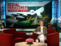 Ellen played a new game with her audience in which they had to identify whether a script was from a sexual harassment training video, or a late-night movie.