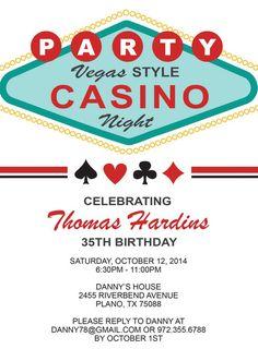 Las Vegas Casino Birthday Invitation for an Adult Birthday Party
