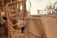 Coco Chanel inspired chair decor www.tablescapesbydesign.com https://www.facebook.com/pages/Tablescapes-By-Design/129811416695