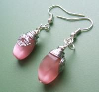 Pretty in Pink Wire Wrapped Earrings