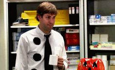 Jim from The Office as Three-Hole-Punch Jim | 29 Iconic Halloween Costumes Worn By Your Favorite TV Characters