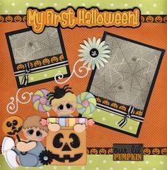 baby's first halloween scrapbook layout   1st Halloween Baby 2 Premade Scrapbook Pages 4 Album Paper Piecing ...