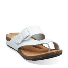 Perri Coast White Patent Leather - Womens Slide Sandals - Clarks