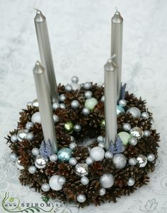 adventi koszorú (30cm) Advent, Christmas Wreaths, Holiday Decor, Diy, Winter, Home Decor, Christmas Swags, Winter Time, Bricolage