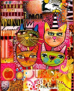 Teesha Moore cats - Idee illustratie in inkt Art Journal Pages, Art Journals, Kunstjournal Inspiration, Art Journal Inspiration, Mixed Media Collage, Collage Art, Art Collages, Illustrations, Illustration Art