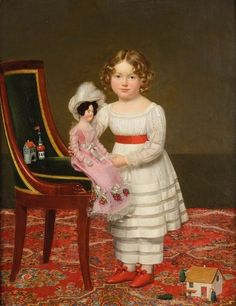 Henri François Riesener (1767-1828)  —  Portrait of a Little Girl with a Doll and Children's Games  (621x800)