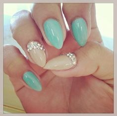 Nude and teal simple stiletto nails