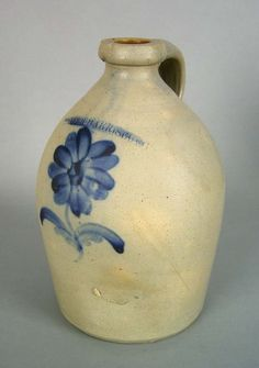 Sold For $ 850 Stoneware jug, 19th c., stamped ''Moyer, Harrisburg'', with single cobalt flower decoration, 11'' h.                            Condition report           Small flake to spout.