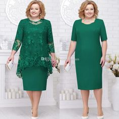 Two Pieces Green Mother Of The Bride And Groom Dress Plus Size With Jacket Wedding Guests Dress Women Party Gowns Vestidos Plus Size, Plus Size Dresses, Mother Of The Bride Dresses Plus Size, Plus Size Evening Gown, Evening Dresses, Mom Dress, Lace Dress, Lace Gowns, Dress Long