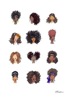 Holiday Hairstyles for Curly Hair Gals Natural Hair Art, Pelo Natural, Natural Hair Styles, Black Girl Art, Black Art, Curly Hair Drawing, Hair Styles Drawing, Curly Hair Cartoon, Hair Sketch