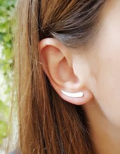 Sterling Silver Curve  Ear Climber | Sterling Silver Minimal Ear Cuff | Edgy | Contemporary Ear Crawler Earrings