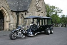Chariot Funeral Hearse Trike. Available from Thos. Furber & Co. Ltd. Funeral Directors - just contact www.thosfurberandco.ltd.uk