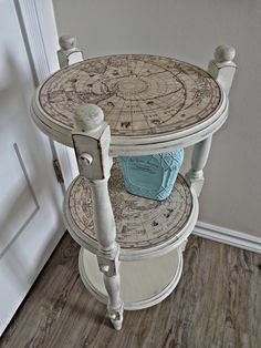 ReDo idea for old side table, using paint and decoupage (Mod podge)
