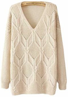 Beige Long Sleeve V Neck Sweater pictures