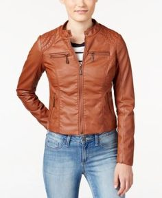 Jou Jou Juniors' Zip Front Faux-Leather Moto Jacket - B
