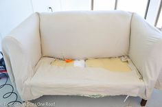 how to reupholster a couch- no sewing involved