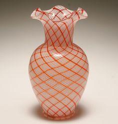 Murano white and orange reticello art glass vase.