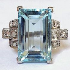 Art Deco Aquamarine Platinum Diamond Vintage Ring- Tap the link now to see our super collection of accessories made just for you! Art Deco Schmuck, Bijoux Art Deco, Art Deco Jewelry, Jewelry Rings, Jewelry Accessories, Fine Jewelry, Jewelry Design, Jewlery, Vintage Diamond Rings