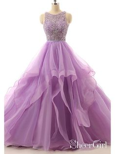 9a1632eca4a Lilac Lace Beaded Plus Size Prom Dresses Long Organza Quinceanera Ball Gowns  Cheap ARD1059. SheerGirl