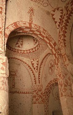 Eglise rupestre de Sainte-Barbe (ou Barbara), XIe siècle, vallée de Göreme, en…