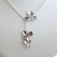 Dangle Silver Orchid Necklace Lariat Necklace by JewelryDeli, $24.00