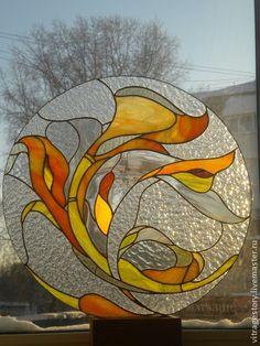 Элементы интерьера ручной работы. Ярмарка Мастеров - ручная работа. Купить Витраж абстракция. Handmade. Витраж, зеленый