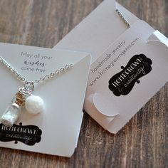~~ Customized Pocket Fold Necklace Cards with Your Logo ~~ Custom printed necklace display cards that fold in the back to create a pocket to hold