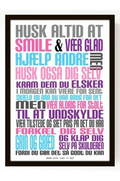 Plakat Husk (A4) - multifarvet Lunch Box Notes, Personal Development, Wise Words, Texts, Poems, Life Quotes, Self, Humor, Motivation