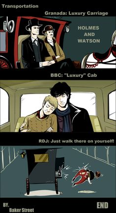 Sherlock in 3 takes: Granada circa 1984, Robert Downey Jr. circa  2009, and BBC circa 2011
