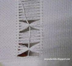 Paso a paso con fotos de como bordar una toalla con deshilado.