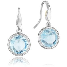 Tacori Island Rains Sky Blue Topaz Silver Drop Earrings ($450) ❤ liked on Polyvore featuring jewelry, earrings, silver jewelry, drop earrings, blue topaz jewelry, tacori jewelry and silver jewellery