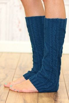 Teal Cable Knit Leg Warmer