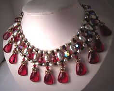 Vintage Pearl Bib Necklace by Robert, Miriam Haskell Designer, with Cherry Red Amber Faceted Glass and Rhinestones, circa 1958.