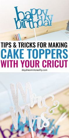 Make Cake Toppers With Cricut Diy Cake Topper, Birthday Cake Toppers, Wedding Cake Toppers, Cricut Craft Room, Cricut Vinyl, Disney Diy, Diy Guide, Cricut Cake, Cricut Wedding