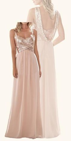 5f56177a93cc MACloth Cowl Back Sequin Chiffon Long Bridesmaid Dress Rose Gold Formal Gown