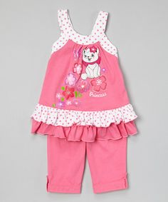 This Pink Cat Ruffle Tunic & Capris - Infant, Toddler & Girls by G&J Relations is perfect! #zulilyfinds