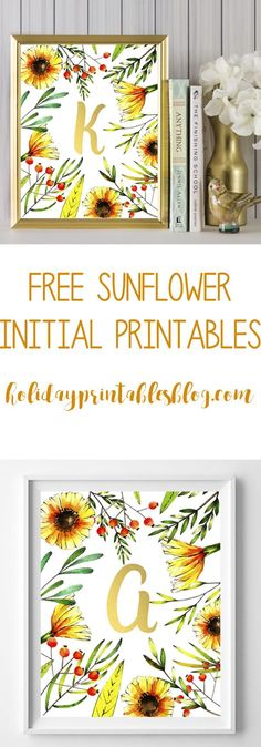 Free sunflower initial printables. Featuring a whimsical sunflower background with gold initials, these printables are perfect for your spring or summer decor or as a gift!