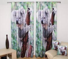 Závěs na okno zeleno hnědé barvy s šedou koalou Blanket, Blankets, Cover, Comforters