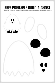 Use this free printable paper ghost template to build-a-ghost for Halloween! This fun craft helps children improve their cutting and pasting skills. Moldes Halloween, Halloween Templates, Halloween Paper Crafts, Adornos Halloween, Halloween Crafts For Toddlers, Easy Christmas Crafts, Fun Crafts For Kids, Halloween Activities, Toddler Crafts