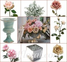 Soft Pink Beige & Peach Vintage Wedding Centerpiece ~ Valerie's Inspiration Board