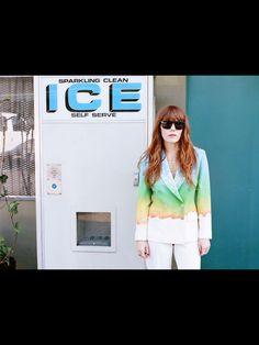 Rainbow coat with white pants