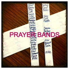 ACTIVITY: these prayer bands are from a runner who prays ever mile, but consider having members make them for those difficult days when they feel they they are in too much pain to make a difference. How can praying for others be a blessing to many?