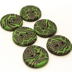 Handmade Buttons Green with Purple Pattern £2.00