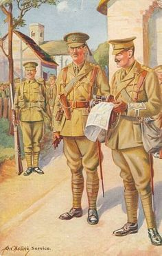 British soldiers reviewing a map after arriving in France, 1914