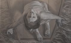 """the mother"" (panel of tryptic ""the lamented"") pencil and white conté cm 100x60"