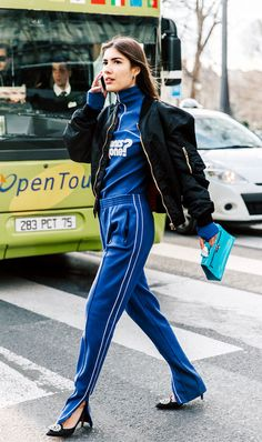 Take a style note from Patricia Manfield and pair embellished heels with track pants. @Coveteur