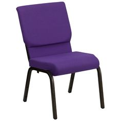 Flash Furniture Hercules Series Extra Wide Royal Purple Stacking Church Chair with Thick Seat - Gold Vein Frame Purple Chair, Purple Fabric, Pink Chairs, Communion Cups, Book Racks, Cool Chairs, My New Room, Chair Cushions, Chair Fabric